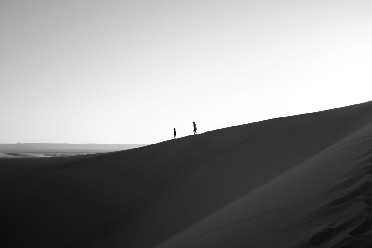 Woestijn zwart wit